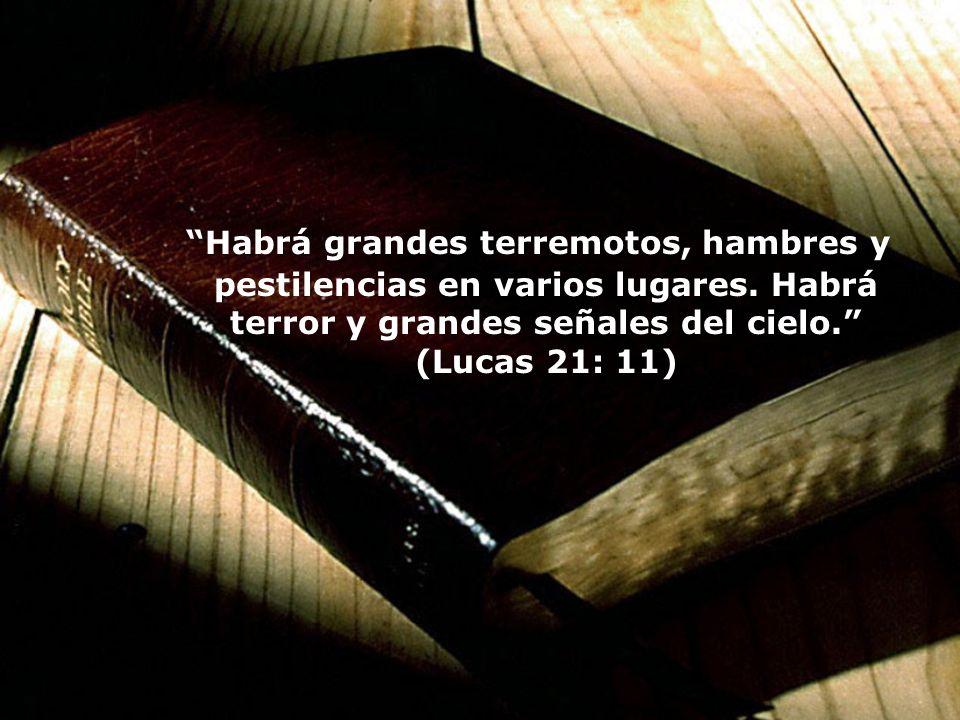 Habrá grandes terremotos, hambres y pestilencias en varios lugares. Habrá terror y grandes señales del cielo. (Lucas 21: 11)