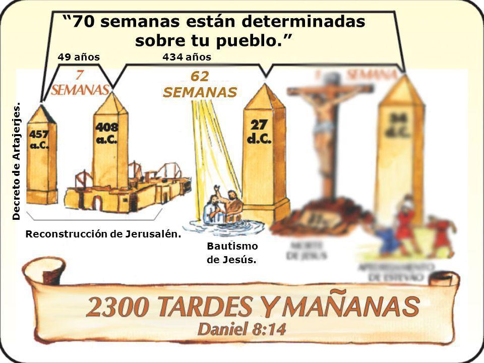 70 semanas están determinadas sobre tu pueblo. Reconstrucción de Jerusalén.Decreto de Artajerjes. 49 años Bautismo de Jesús. 434 años 62 SEMANAS