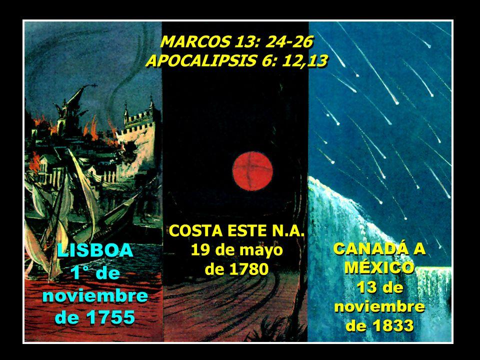 MARCOS 13: 24-26 APOCALIPSIS 6: 12,13 MARCOS 13: 24-26 APOCALIPSIS 6: 12,13 LISBOA 1° de noviembre de 1755 LISBOA 1° de noviembre de 1755 COSTA ESTE N