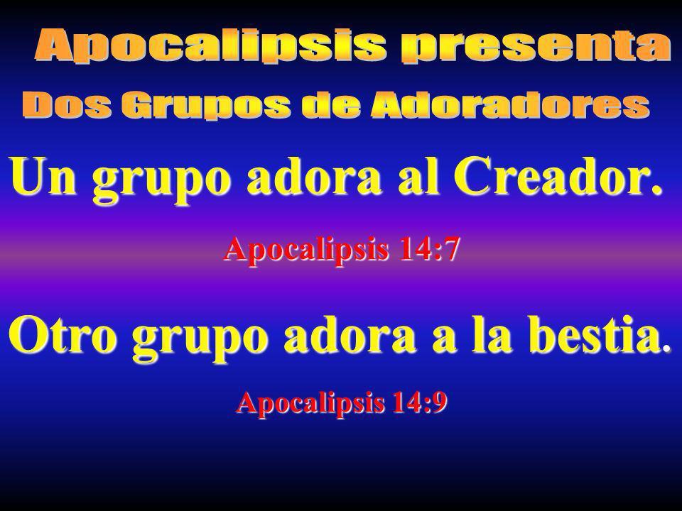 Un grupo adora al Creador. Apocalipsis 14:7 Otro grupo adora a la bestia. Apocalipsis 14:9