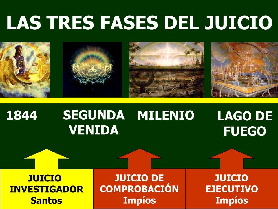 LAS TRES FASES DEL JUICIO 1844 SEGUNDA VENIDA MILENIO LAGO DE FUEGO JUICIO INVESTIGADOR Santos JUICIO DE COMPROBACIÓN Impíos JUICIO EJECUTIVO Impíos