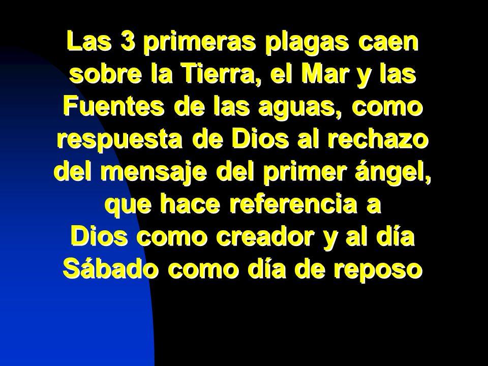 Las 3 primeras plagas caen sobre la Tierra, el Mar y las Fuentes de las aguas, como respuesta de Dios al rechazo del mensaje del primer ángel, que hac