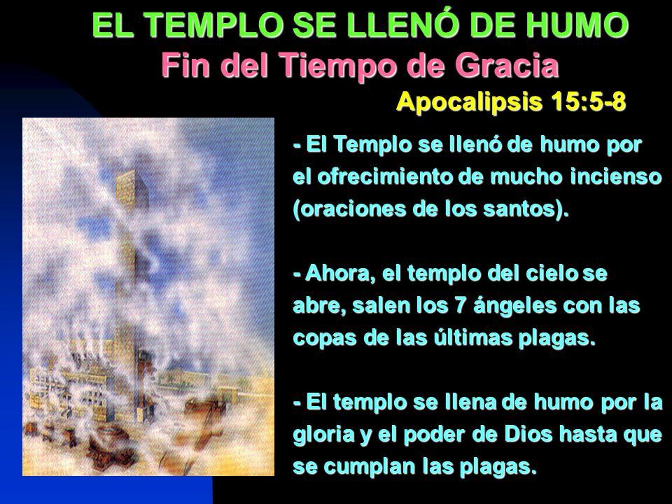 - El Templo se llenó de humo por el ofrecimiento de mucho incienso (oraciones de los santos). - Ahora, el templo del cielo se abre, salen los 7 ángele