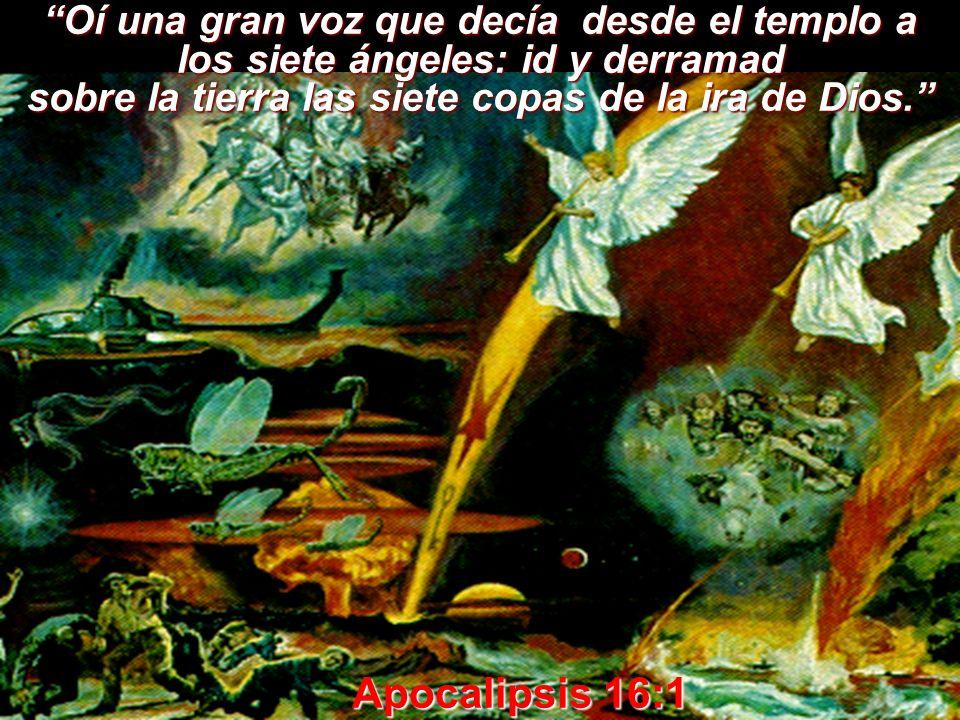 Oí una gran voz que decía desde el templo a los siete ángeles: id y derramad sobre la tierra las siete copas de la ira de Dios. Apocalipsis 16:1 Apoca