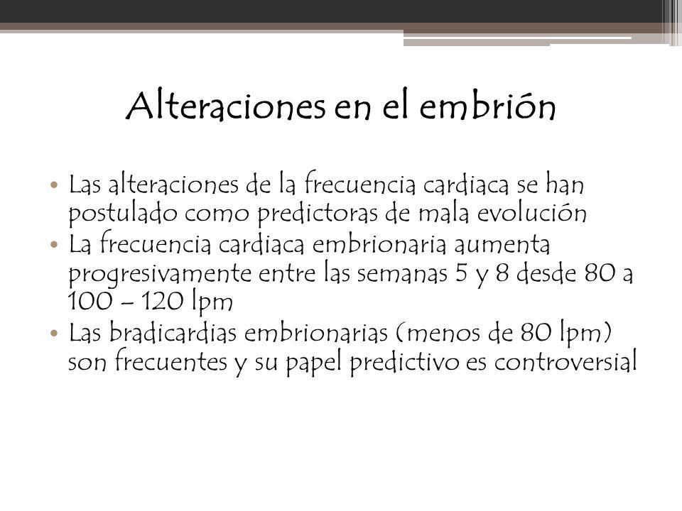 Alteraciones en el embrión Las alteraciones de la frecuencia cardiaca se han postulado como predictoras de mala evolución La frecuencia cardiaca embri