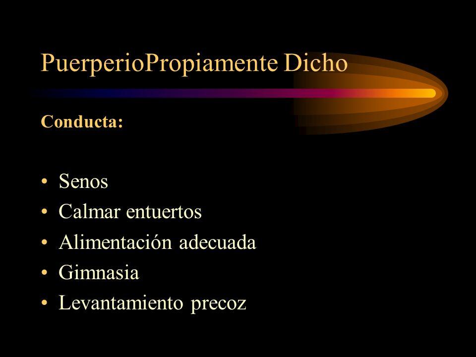 Puerperio Propiamente Dicho Conducta Reposo físico y mental Control diario temperatura Pulso Involución uterina Loquios