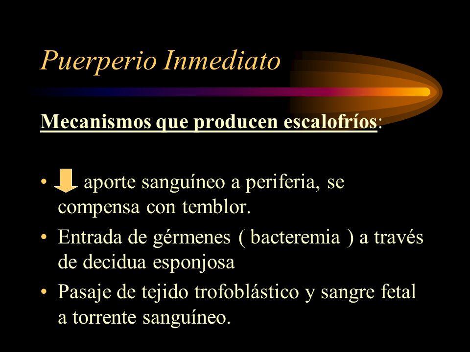 Puerperio Inmediato Mecanismos de hemostasia: Retractilidad: acortamiento permanente de fibra muscular uterina. Contractilidad: acortamiento temporal