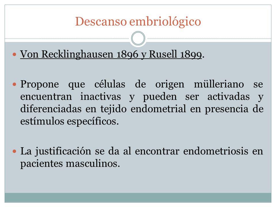 Descanso embriológico Von Recklinghausen 1896 y Rusell 1899. Propone que células de origen mülleriano se encuentran inactivas y pueden ser activadas y