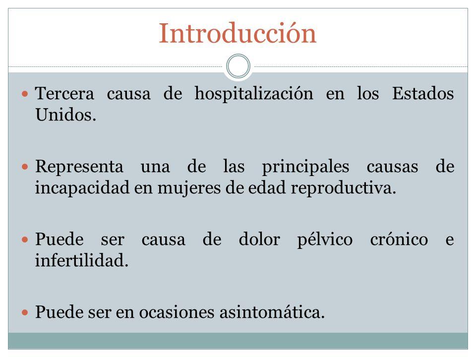 Introducción Tercera causa de hospitalización en los Estados Unidos. Representa una de las principales causas de incapacidad en mujeres de edad reprod