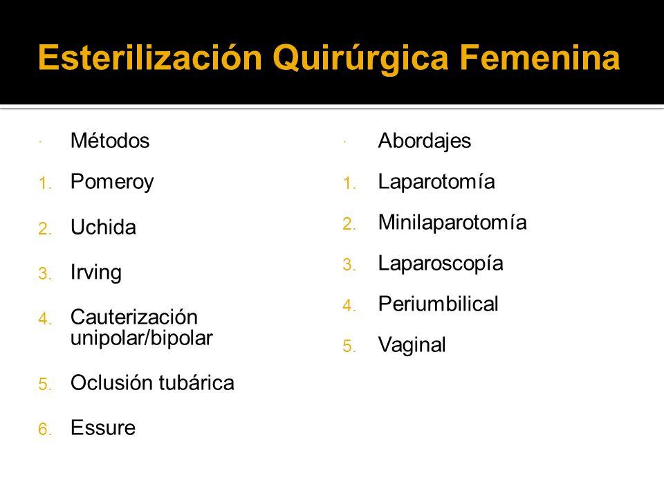 Esterilización Quirúrgica Femenina Métodos Pomeroy Uchida Irving Cauterización unipolar/bipolar Oclusión tubárica Essure Abordajes 1. Laparotomía 2. M