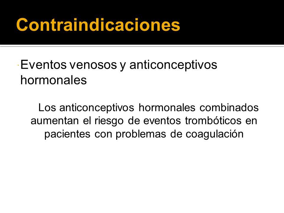 Contraindicaciones Eventos venosos y anticonceptivos hormonales Los anticonceptivos hormonales combinados aumentan el riesgo de eventos trombóticos en