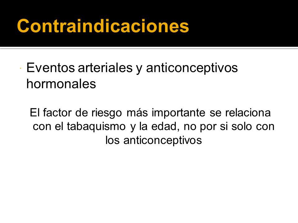 Contraindicaciones Eventos arteriales y anticonceptivos hormonales El factor de riesgo más importante se relaciona con el tabaquismo y la edad, no por