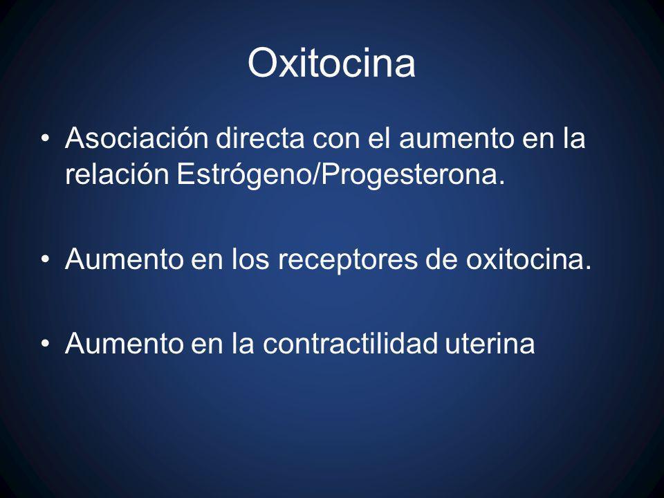 Oxitocina Asociación directa con el aumento en la relación Estrógeno/Progesterona. Aumento en los receptores de oxitocina. Aumento en la contractilida