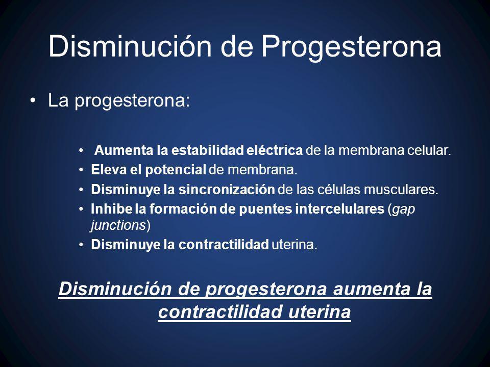 Disminución de Progesterona La progesterona: Aumenta la estabilidad eléctrica de la membrana celular. Eleva el potencial de membrana. Disminuye la sin
