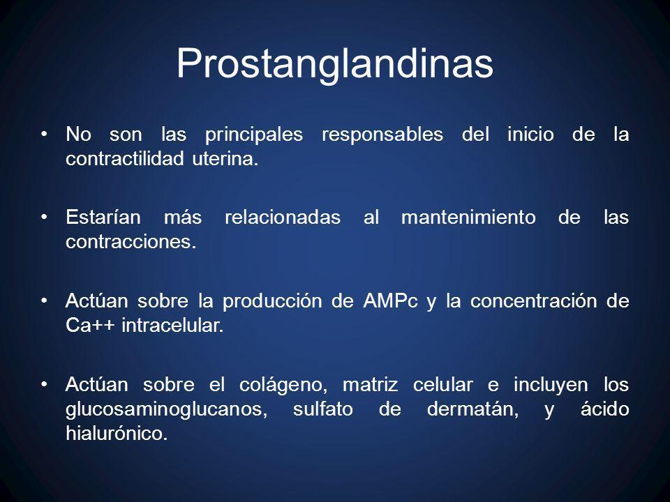 Prostanglandinas No son las principales responsables del inicio de la contractilidad uterina. Estarían más relacionadas al mantenimiento de las contra
