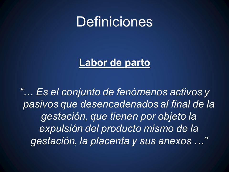 Definiciones Labor de parto … Es el conjunto de fenómenos activos y pasivos que desencadenados al final de la gestación, que tienen por objeto la expu