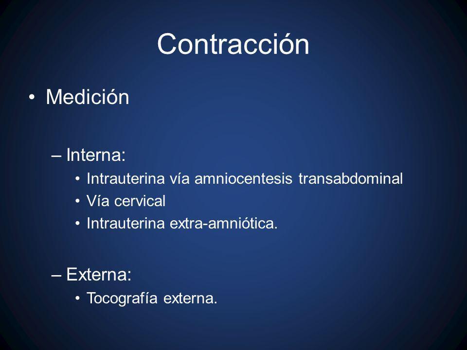 Contracción Medición –Interna: Intrauterina vía amniocentesis transabdominal Vía cervical Intrauterina extra-amniótica. –Externa: Tocografía externa.