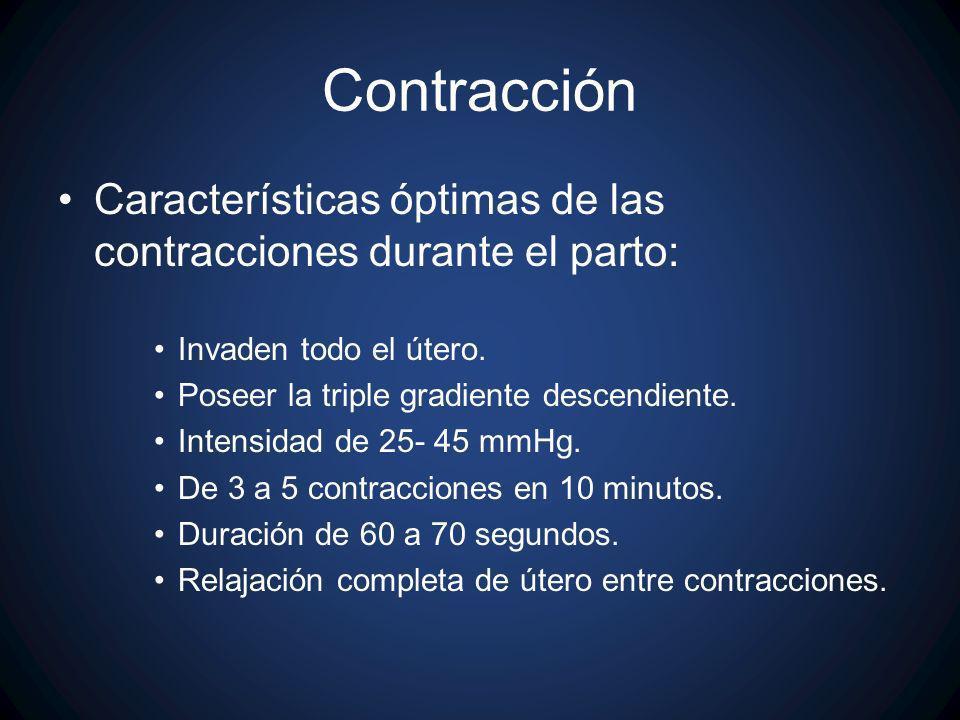 Características óptimas de las contracciones durante el parto: Invaden todo el útero. Poseer la triple gradiente descendiente. Intensidad de 25- 45 mm