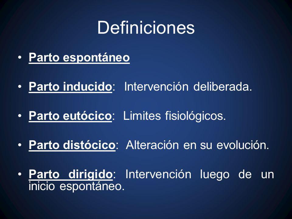 Definiciones Parto espontáneo Parto inducido: Intervención deliberada. Parto eutócico: Limites fisiológicos. Parto distócico: Alteración en su evoluci