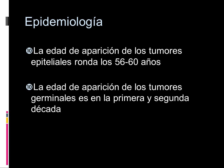 Epidemiología La edad de aparición de los tumores epiteliales ronda los 56-60 años La edad de aparición de los tumores germinales es en la primera y s