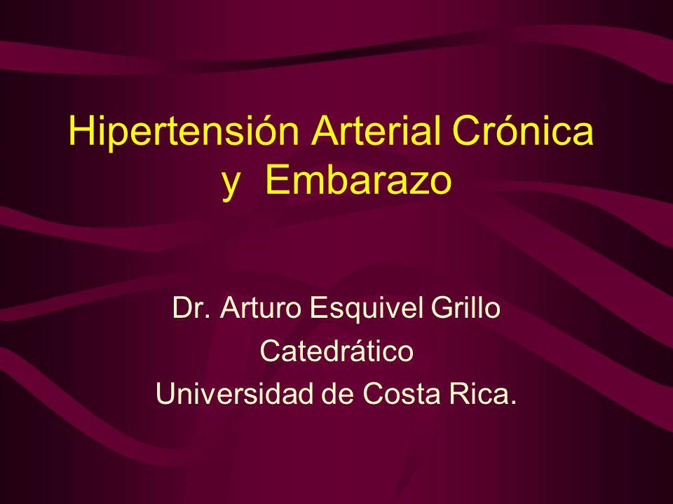 HIPERTENSION CRONICA SEVERA Y EMBARAZO PRONOSTICO Con Pre-eclampsia Sin Pre-eclampsia (n = 23) (n = 21) Edad Gestacional (Sem)28.6 +/- 2.4 36.5 +/- 2.9 Menor 37 semanas 23 (100%) 8 (38%) Peso Neonatal (gramos)827 +/- 314 2632 +/- 743 Muerte Perinatal 11 (48%) 0 Desprendimiento de Placenta 2 (8.7%) 0 Deterioro de la función renal 15 (65%) 5 (24%) Sibai and Anderson, 1986