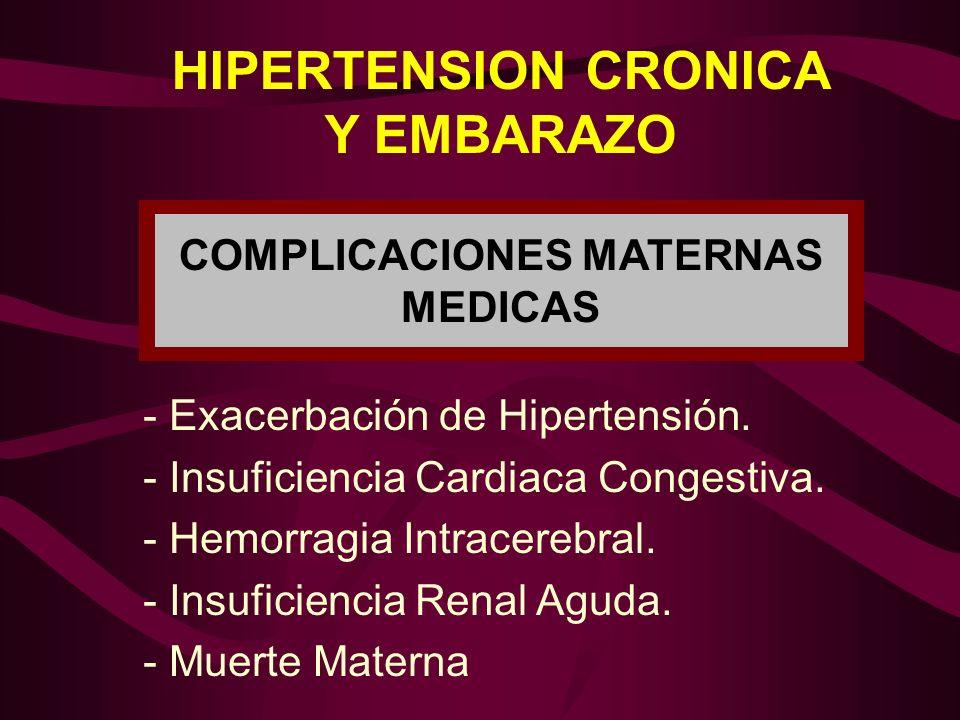 HIPERTENSION CRONICA Y EMBARAZO - Exacerbación de Hipertensión. - Insuficiencia Cardiaca Congestiva. - Hemorragia Intracerebral. - Insuficiencia Renal
