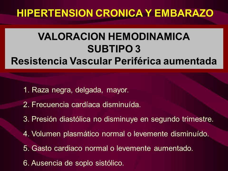 HIPERTENSION CRONICA Y EMBARAZO VALORACION HEMODINAMICA SUBTIPO 3 Resistencia Vascular Periférica aumentada 1.Raza negra, delgada, mayor. 2. Frecuenci