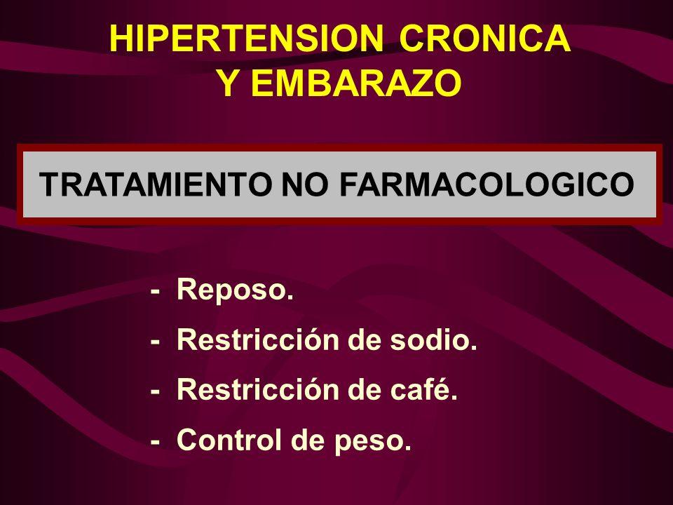 HIPERTENSION CRONICA Y EMBARAZO TRATAMIENTO NO FARMACOLOGICO - Reposo. - Restricción de sodio. - Restricción de café. - Control de peso.