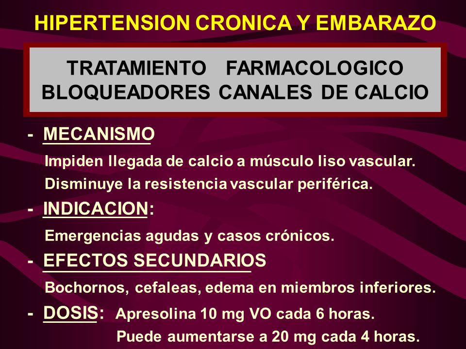 TRATAMIENTO FARMACOLOGICO BLOQUEADORES CANALES DE CALCIO HIPERTENSION CRONICA Y EMBARAZO - MECANISMO Impiden llegada de calcio a músculo liso vascular