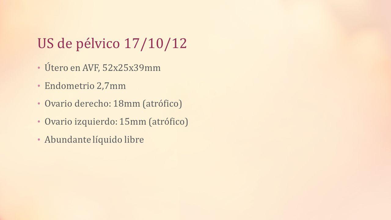 US de pélvico 17/10/12 Útero en AVF, 52x25x39mm Endometrio 2,7mm Ovario derecho: 18mm (atrófico) Ovario izquierdo: 15mm (atrófico) Abundante líquido l
