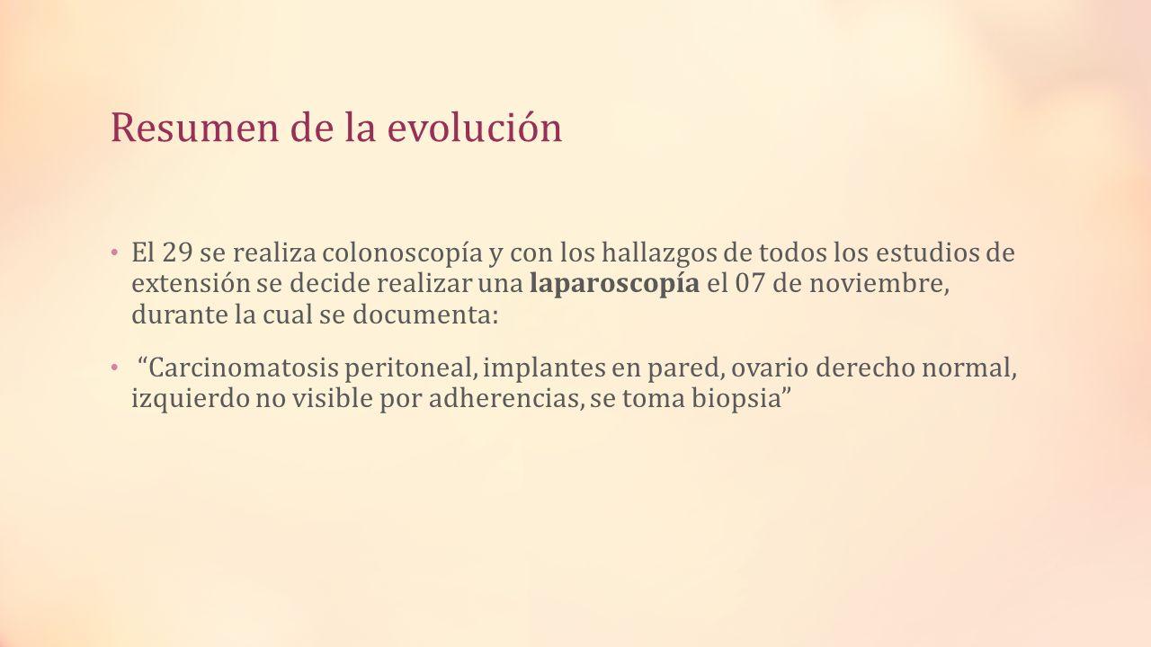 Resumen de la evolución El 29 se realiza colonoscopía y con los hallazgos de todos los estudios de extensión se decide realizar una laparoscopía el 07