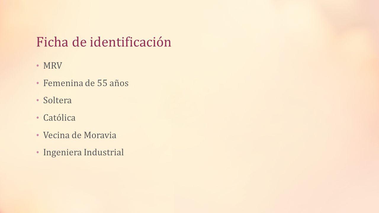 Ficha de identificación MRV Femenina de 55 años Soltera Católica Vecina de Moravia Ingeniera Industrial