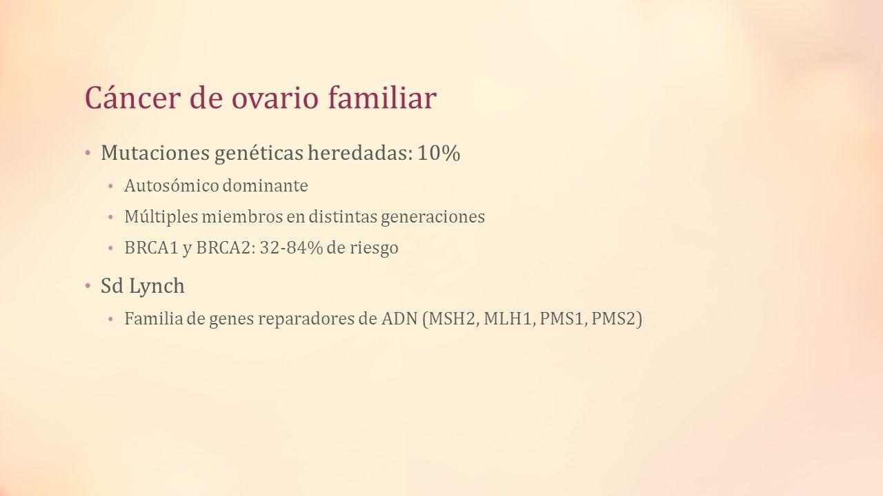 Cáncer de ovario familiar Mutaciones genéticas heredadas: 10% Autosómico dominante Múltiples miembros en distintas generaciones BRCA1 y BRCA2: 32-84%