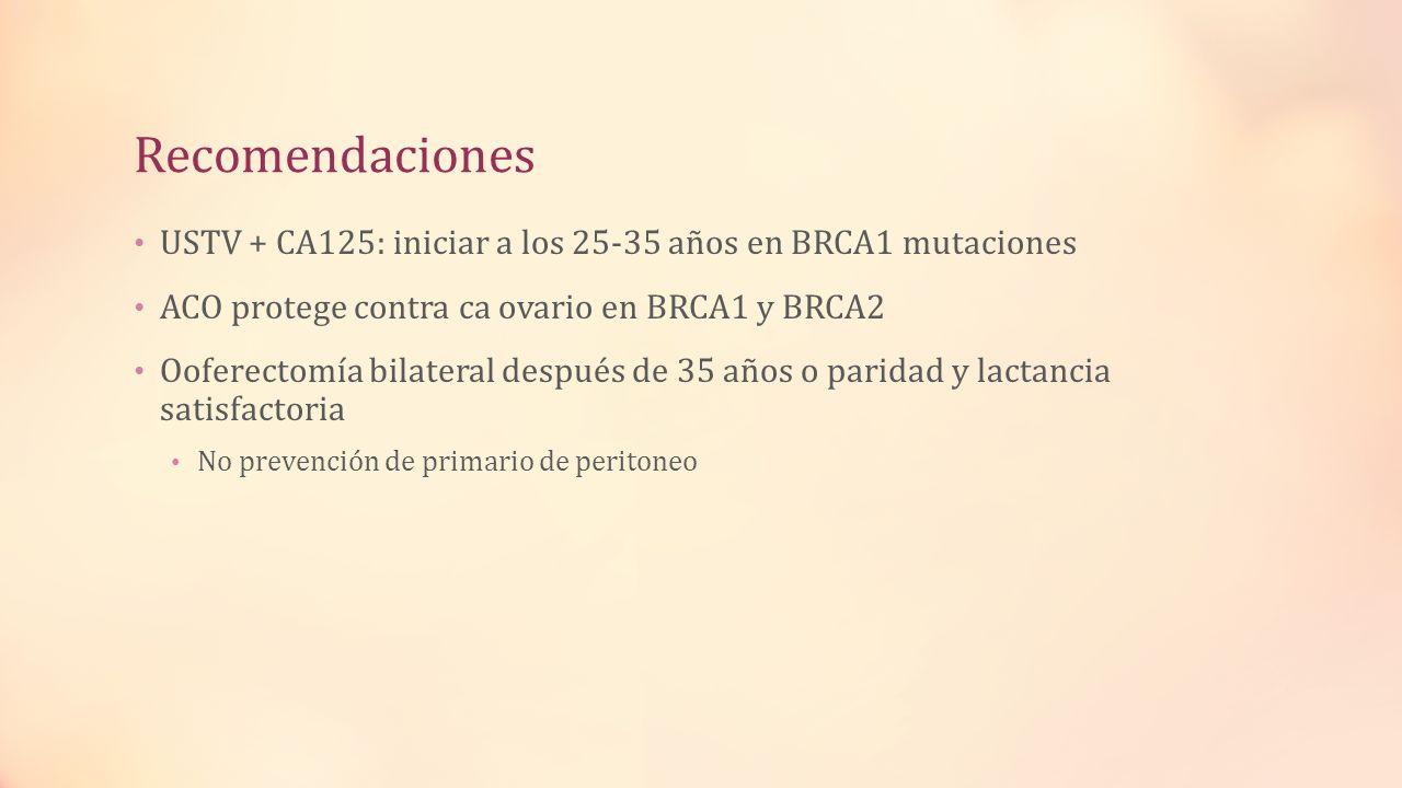 Recomendaciones USTV + CA125: iniciar a los 25-35 años en BRCA1 mutaciones ACO protege contra ca ovario en BRCA1 y BRCA2 Ooferectomía bilateral despué
