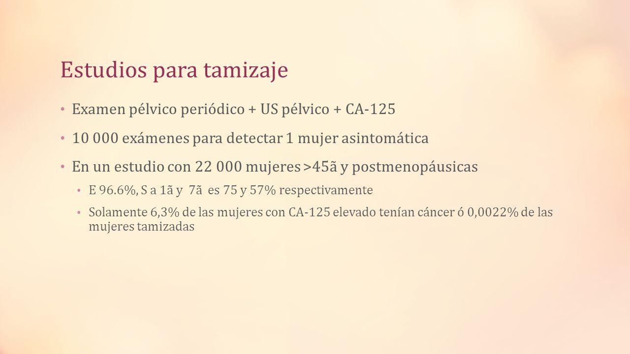 Estudios para tamizaje Examen pélvico periódico + US pélvico + CA-125 10 000 exámenes para detectar 1 mujer asintomática En un estudio con 22 000 muje