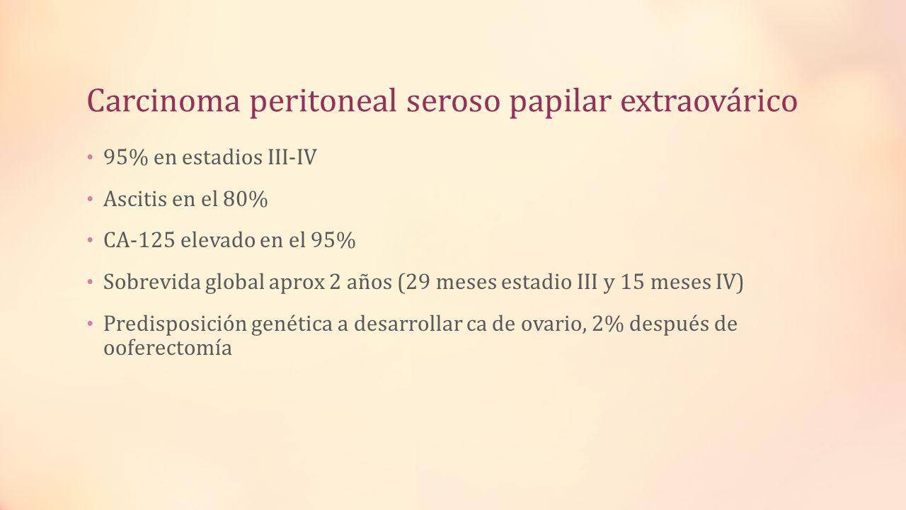 Carcinoma peritoneal seroso papilar extraovárico 95% en estadios III-IV Ascitis en el 80% CA-125 elevado en el 95% Sobrevida global aprox 2 años (29 m