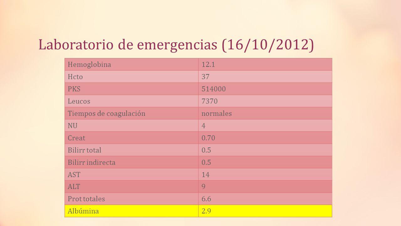 Laboratorio de emergencias (16/10/2012) Hemoglobina12.1 Hcto37 PKS514000 Leucos7370 Tiempos de coagulaciónnormales NU4 Creat0.70 Bilirr total0.5 Bilir