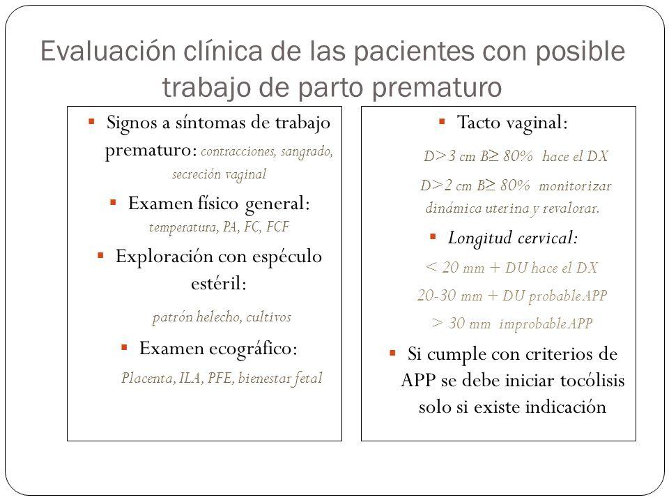Evaluación clínica de las pacientes con posible trabajo de parto prematuro Signos a síntomas de trabajo prematuro: contracciones, sangrado, secreción