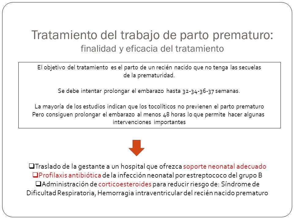 Tratamiento del trabajo de parto prematuro: finalidad y eficacia del tratamiento El objetivo del tratamiento es el parto de un recién nacido que no te