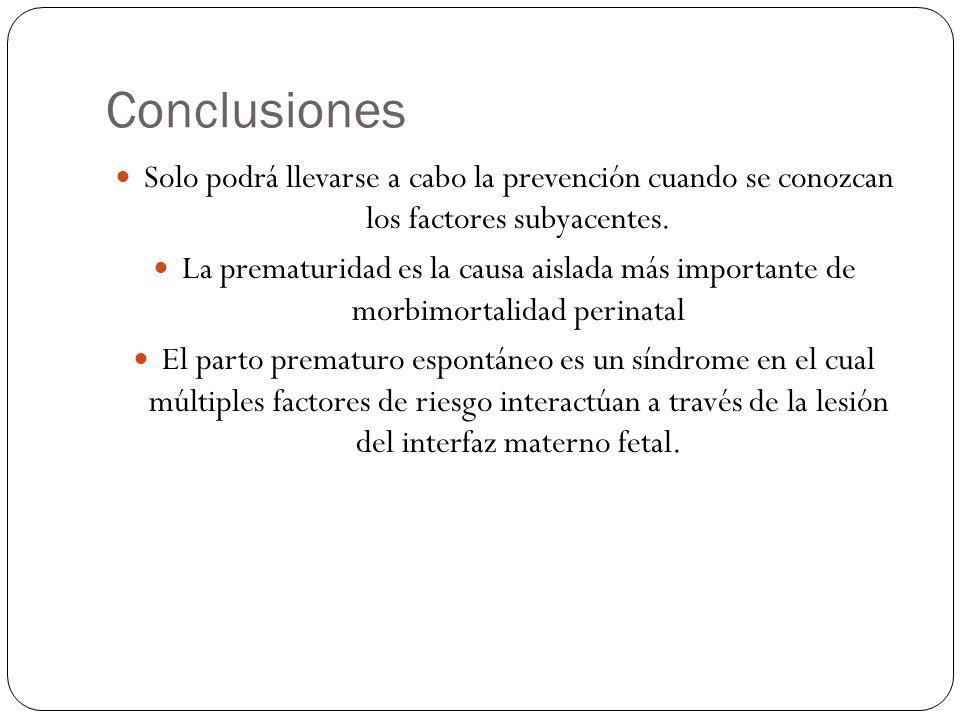 Conclusiones Solo podrá llevarse a cabo la prevención cuando se conozcan los factores subyacentes. La prematuridad es la causa aislada más importante