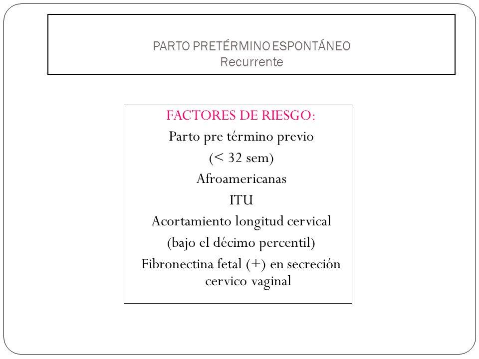 PARTO PRETÉRMINO ESPONTÁNEO Recurrente FACTORES DE RIESGO: Parto pre término previo (< 32 sem) Afroamericanas ITU Acortamiento longitud cervical (bajo