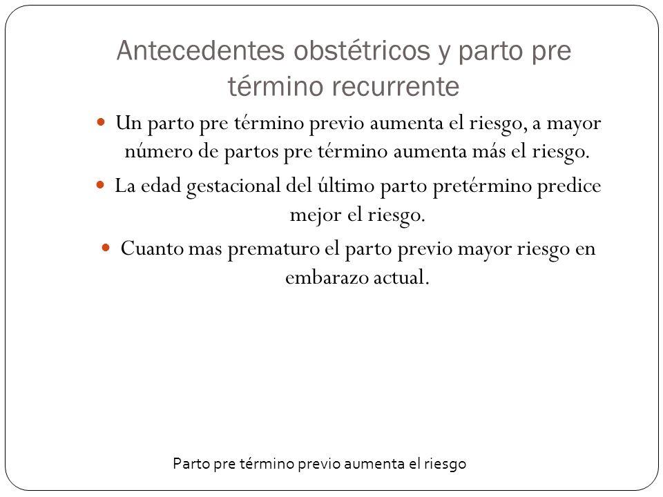 Antecedentes obstétricos y parto pre término recurrente Un parto pre término previo aumenta el riesgo, a mayor número de partos pre término aumenta má