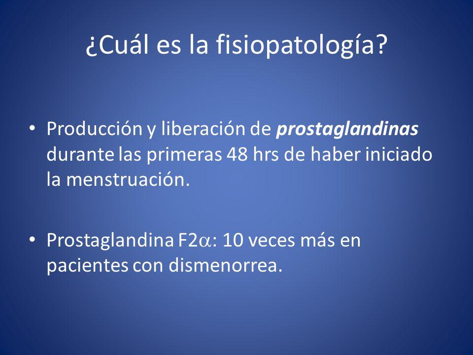 Producción y liberación de prostaglandinas durante las primeras 48 hrs de haber iniciado la menstruación. Prostaglandina F2 : 10 veces más en paciente