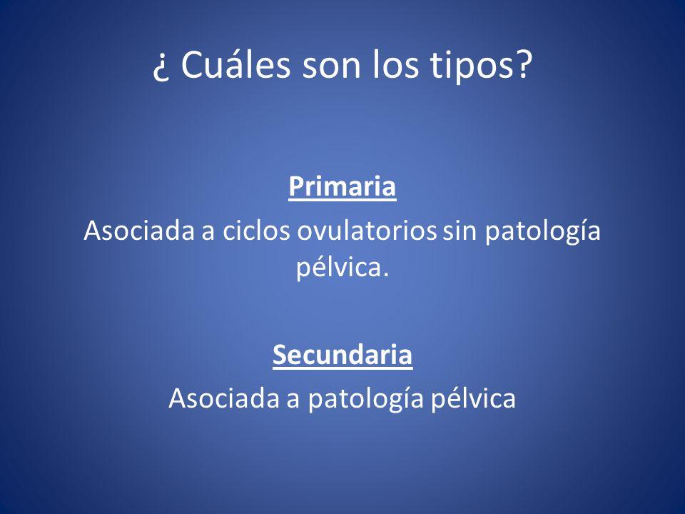¿ Cuáles son los tipos? Primaria Asociada a ciclos ovulatorios sin patología pélvica. Secundaria Asociada a patología pélvica