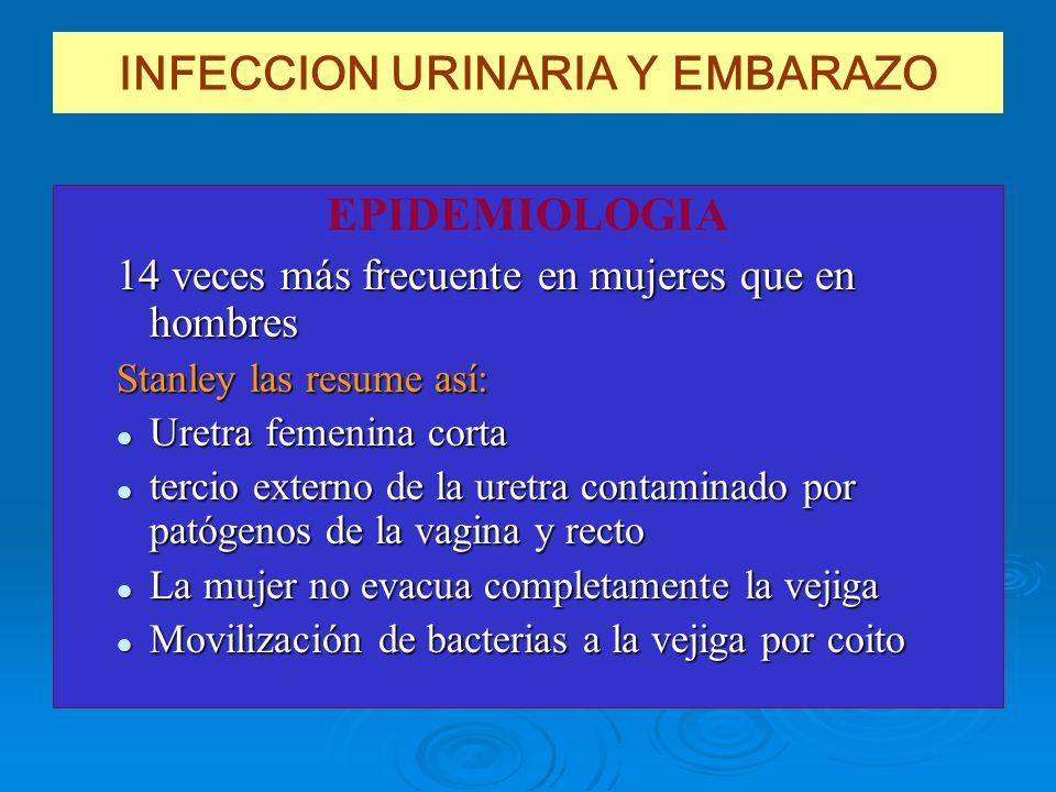 INFECCION URINARIA Y EMBARAZO EPIDEMIOLOGIA 14 veces más frecuente en mujeres que en hombres Stanley las resume así: Uretra femenina corta Uretra feme