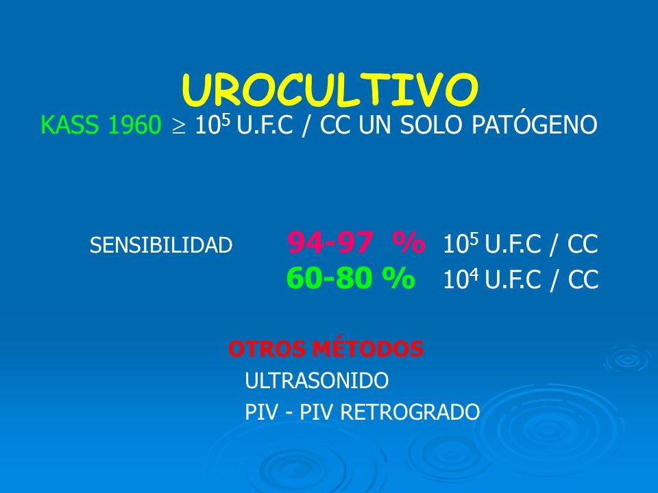 UROCULTIVO KASS 1960 10 5 U.F.C / CC UN SOLO PATÓGENO SENSIBILIDAD 94-97 % 10 5 U.F.C / CC 60-80 % 10 4 U.F.C / CC OTROS MÉTODOS ULTRASONIDO PIV - PIV