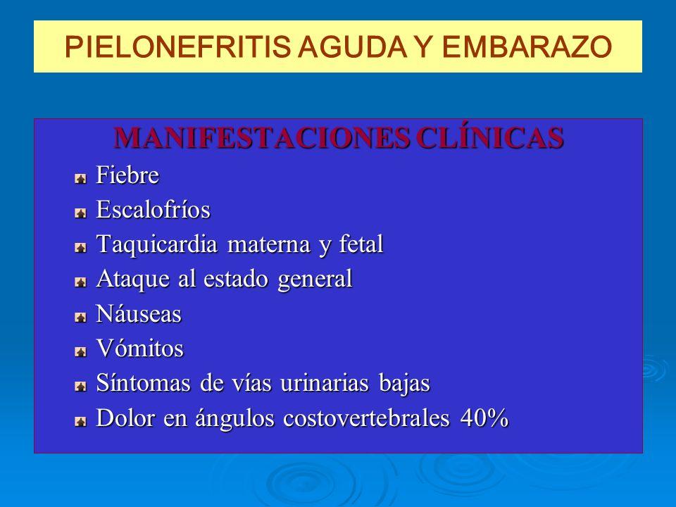 PIELONEFRITIS AGUDA Y EMBARAZO MANIFESTACIONES CLÍNICAS FiebreEscalofríos Taquicardia materna y fetal Ataque al estado general NáuseasVómitos Síntomas