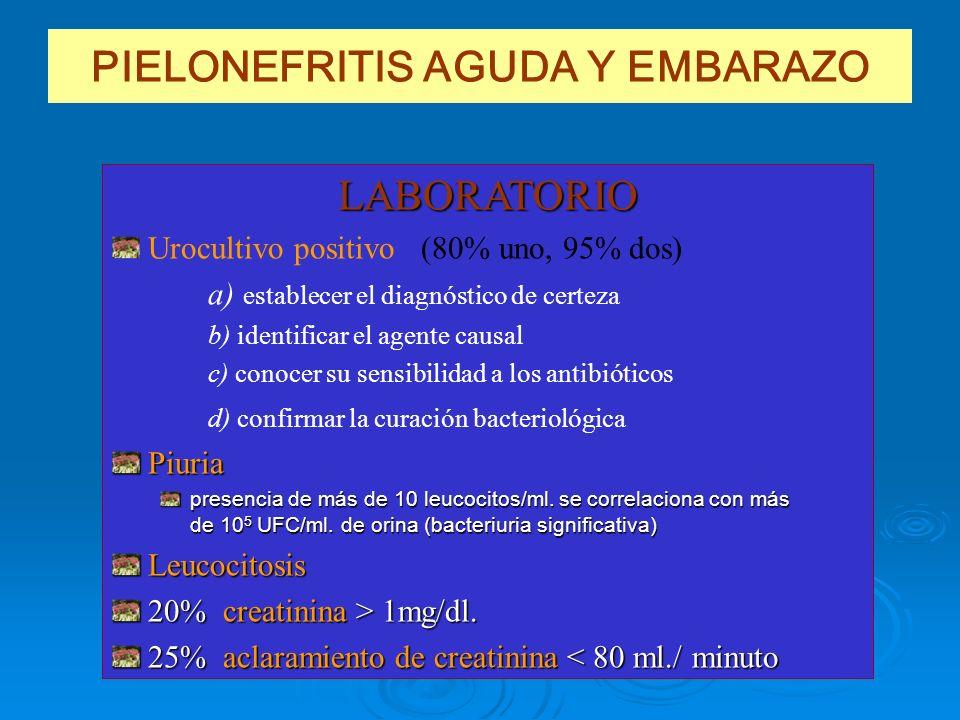 PIELONEFRITIS AGUDA Y EMBARAZO LABORATORIO Urocultivo positivo (80% uno, 95% dos) a) establecer el diagnóstico de certeza b) identificar el agente cau
