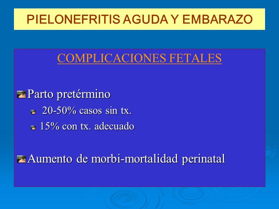 PIELONEFRITIS AGUDA Y EMBARAZO COMPLICACIONES FETALES Parto pretérmino 20-50% casos sin tx. 20-50% casos sin tx. 15% con tx. adecuado Aumento de morbi