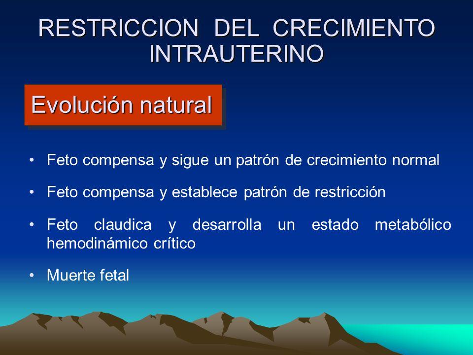 Evolución natural Feto compensa y sigue un patrón de crecimiento normal Feto compensa y establece patrón de restricción Feto claudica y desarrolla un